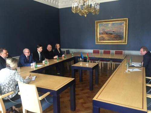 Meeting of Estonia-Belarus parliamentary group members with Ambassador of the Republic of Belarus to the Republic of Estonia Vyacheslav Kachanov. 15 May 2019 Estonian Parliament